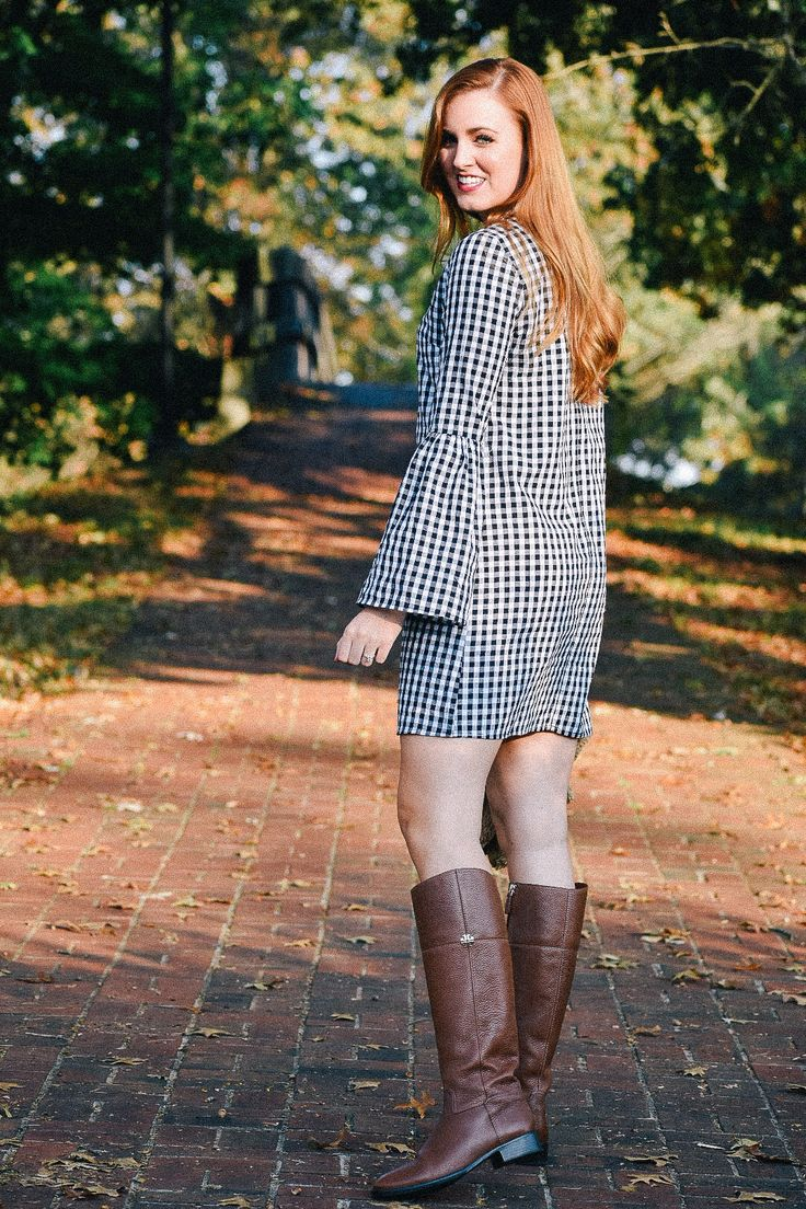 Giveaway post! Gingham Bell Sleeve Dress with monogrammed Marley Lilly sherpa vest and riding boots. How to wear a sherpa vest. How to wear riding boots. Gingham bell sleeved dress.