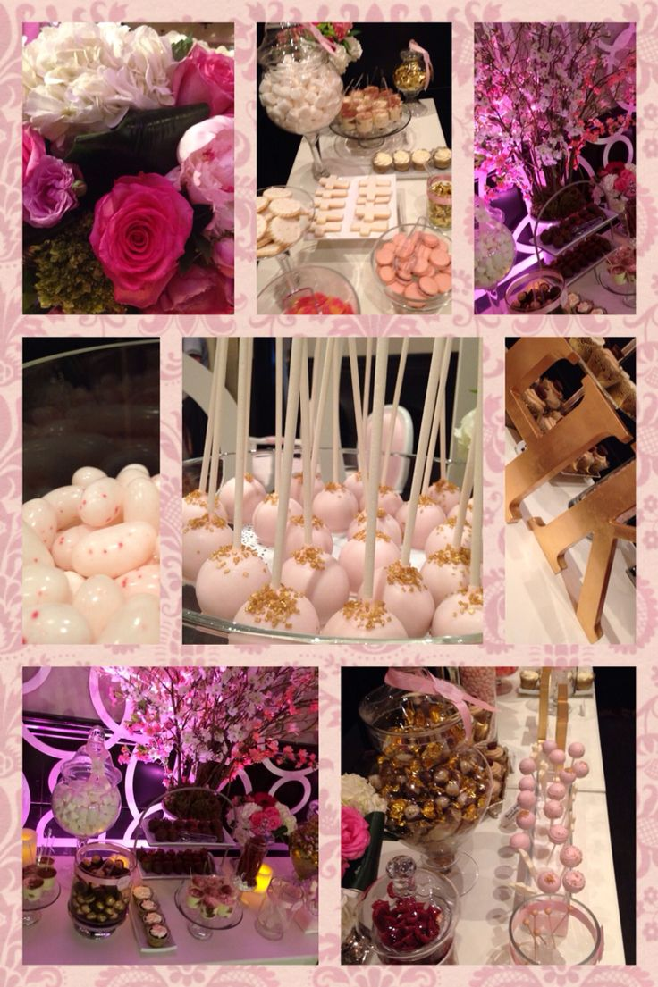 Luxurious elegant and glamour ! Candy bar with cake pops cupcakes chocolate candy and strawberries dipped in chocolate  all in pink and gold