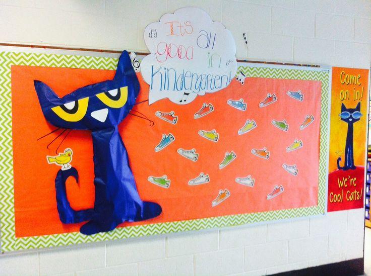 Pete the Cat back to school bulletin board for my Kindergarten classroom!