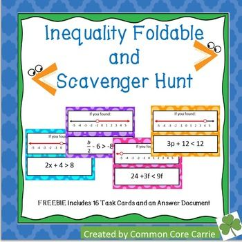 This FREE product includes an inequality foldable.  Students can reference various examples of inequalities graphed on a number line.  There are examples of less than, greater than, less than or equal to and greater than or equal to inequalities.  On the inside of the foldable, students can practice one of each type of inequality problem.