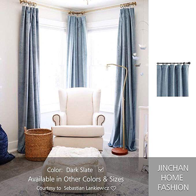Amazon Com Velvet Curtain Panel For Living Room 95 Inch Slate