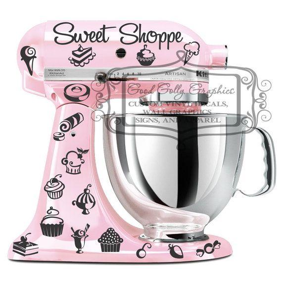 Kitchen mixer vinyl decal set 35 piece Sweet por GoodGollyGraphics, $12.00
