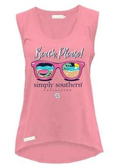 Simply Southern Preppy Collection Beach Please Tank for Women in Flamingo TANK-PLEASE-FLAMINGO