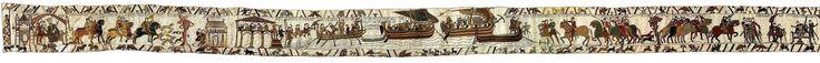Tapiz de Bayeux. Fines de 1100 d.C. Musée de la Tapisserie de Bayeux. Bayeux, Normandía. Francia.   El tapiz de Bayeux, también conocido como Tapiz de la reina Matilde, es un gran lienzo bordado del siglo XI de casi 70 metros de largo que relata, mediante una sucesión de imágenes con inscripciones en latín, los hechos previos a la conquista normanda de Inglaterra, que culminó con la batalla de Hastings.