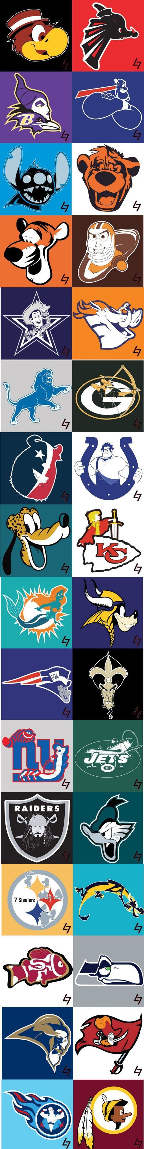 NFL logos with Disney characters
