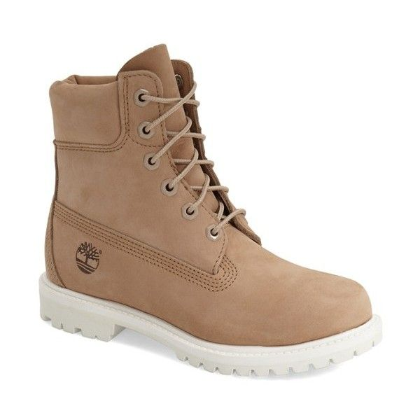"""Timberland '6 Inch Premium' Waterproof Boot, 1"""" heel ($170) ❤ liked on Polyvore featuring shoes, boots, ankle booties, ankle boots, beige nubuck, lace up ankle boots, timberland boots, low heel booties, work boots and lace up bootie"""