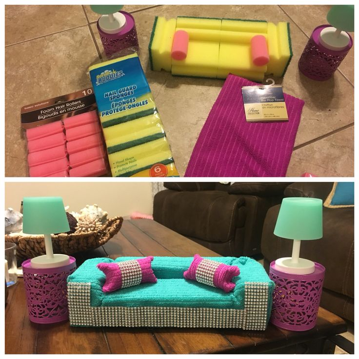 Barbie Furniture. 6 sponges used for couch (1 package) . 2 sponge curlers for pillows. Covered with terry cloth dish towel. Added bling. Used glue gun. Lamp and table are candle holders. All from dollar store. #barbiedollfurniture