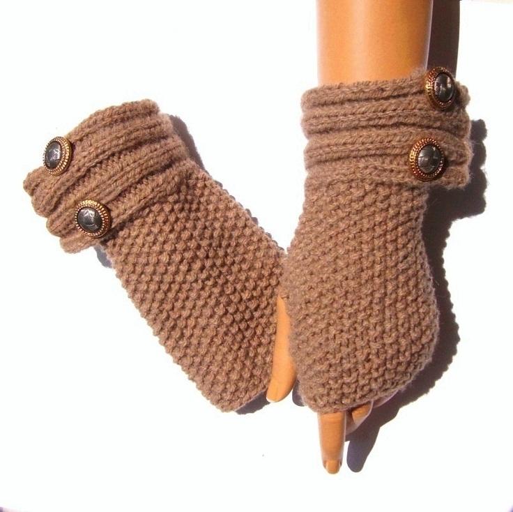 Hand Knit Gloves Mitten Camel Brown Light Brown Handknit by Pasin, $32.00