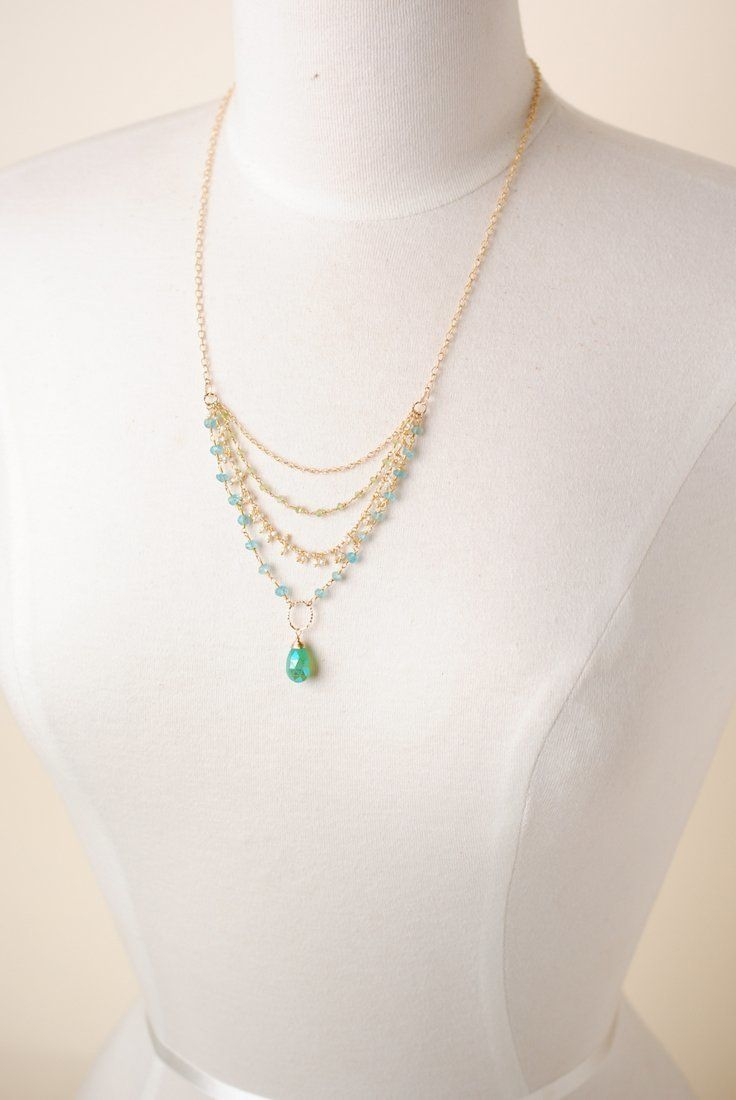 "Key Lime 21.5-23.5"" Multistrand Gemstone Pearl Pendant Necklace"