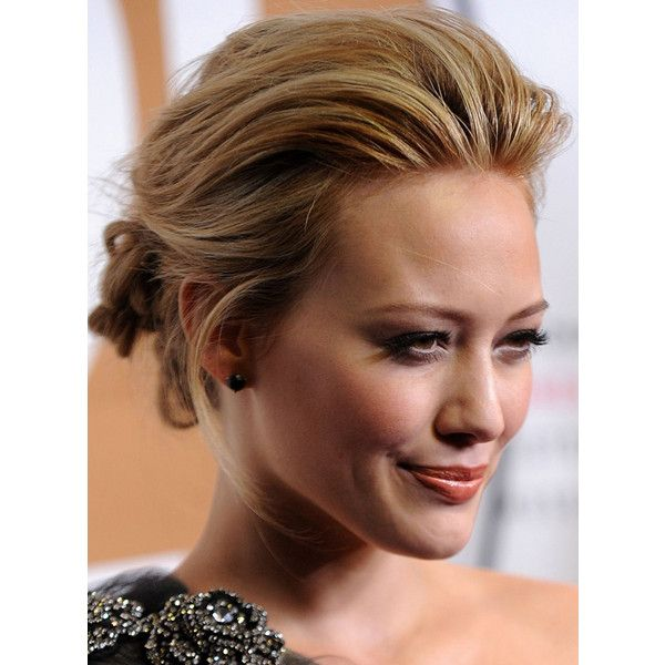 Hilary duff s pulled back updo hairstyle liked on polyvore hair