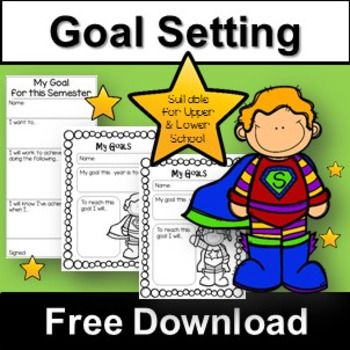 Help young students with basic goals setting in this free download. Inside you will find large bulletin board letters and a sign (for 2017) that you can use to display students goals in your classroom. There are lower school (girl and boy) goal setting sheets with a simple statement on it for grades K-3 and an upper school goal setting sheet for grades 4-7.