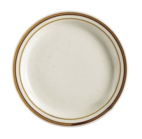 CAC China AZ-16 Arizona 10-1/2-Inch Brown Rim Brown Speckled American White Stoneware Round Plate, Box of 12 #dinner #plate #chinaware