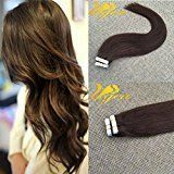 Ugeat 22 inch 10pcs/25g Silky Straight Remy Extensions Glue in Human Hair Extensions Skin Weft Tape in Extensions Medium Brown