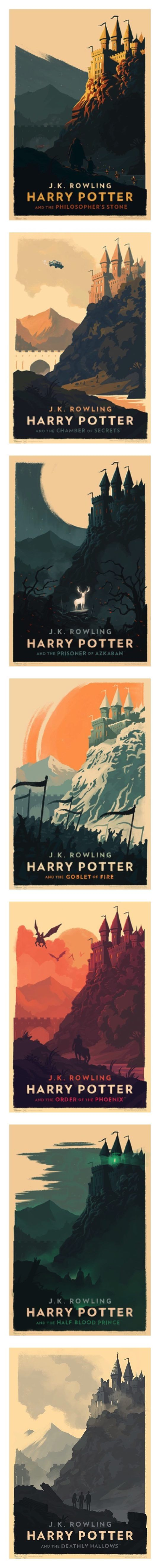 Fantastic, vintage-looking Harry Potter posters by Olly Moss