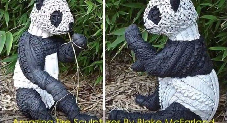 Sculptures sur pneus… Enfin du recyclage qui donne envie! Un joueur de base-ball s'adonne à l'art tout en faisant de fait la promotion du recyclage: il utilise des pneus usagés pour créer d'incroyables sculptures!