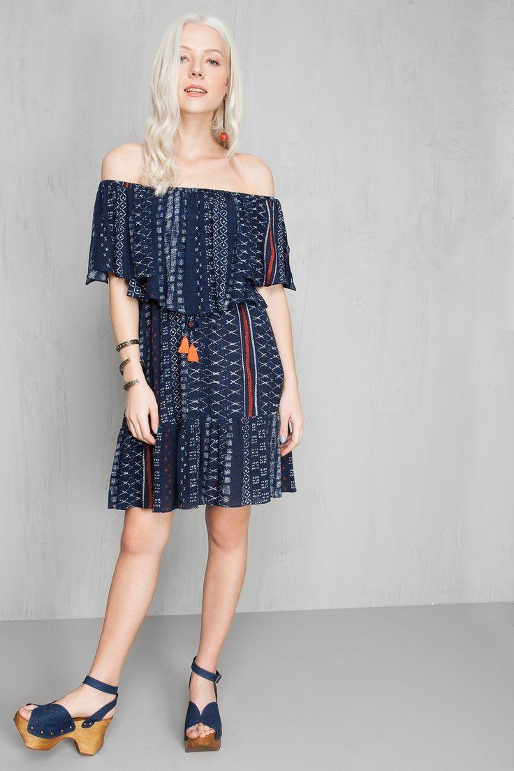 vestido ombro a ombro estampado sashiko   Dress to