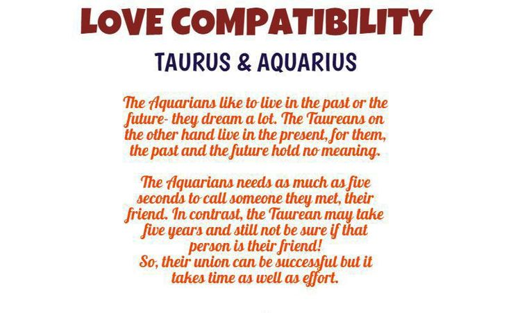 Know the love compatibility of taurus and aquarius and their love life.