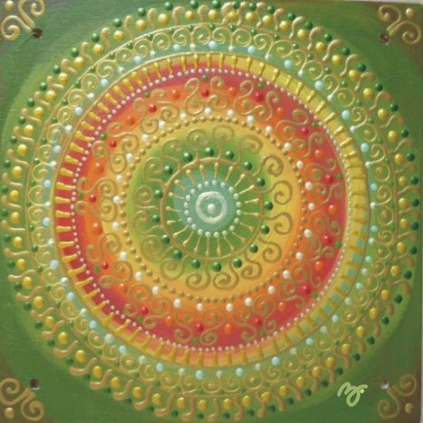 zöld-piros-arany Napszimbólumos mandala / green-red-gold Sunsymbol mandala