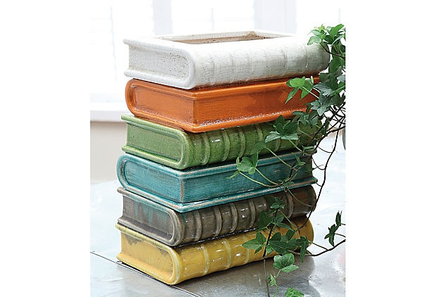 """9"""" Terracotta Stacked Books Vase. I've seen this done with real books, but I much prefer this way!"""