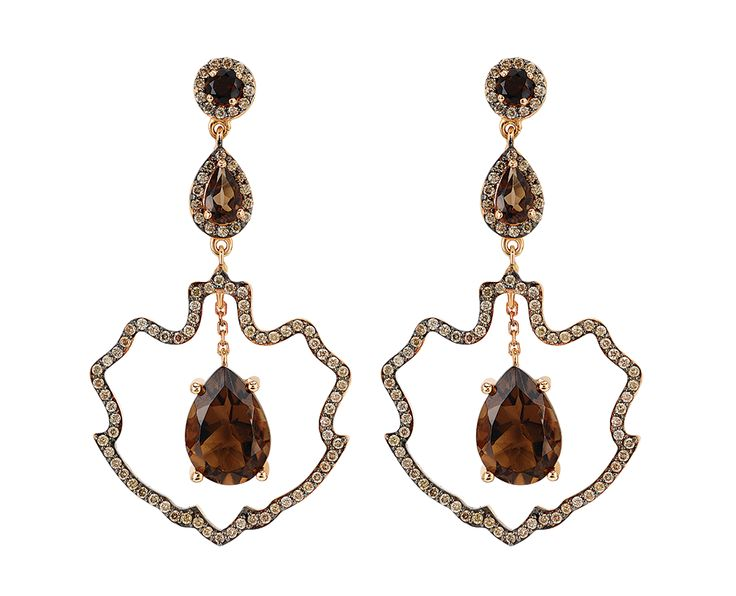Smoky quartz has been attributed a meaning of wisdom, courage, loyalty and power in many cultures. As a root chakra stone it enhances survival instincts and joy of living. It is believed to repel negative energy and attract positive energy in the environment. #smokyquartz #gems #jewelry #earring