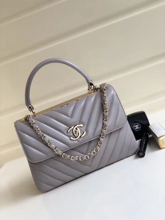 Chanel Chevron Small Trendy CC Flap Bag With Top Handle A92236 Gray  2018(Gold-tone Hardware) 441fd55257