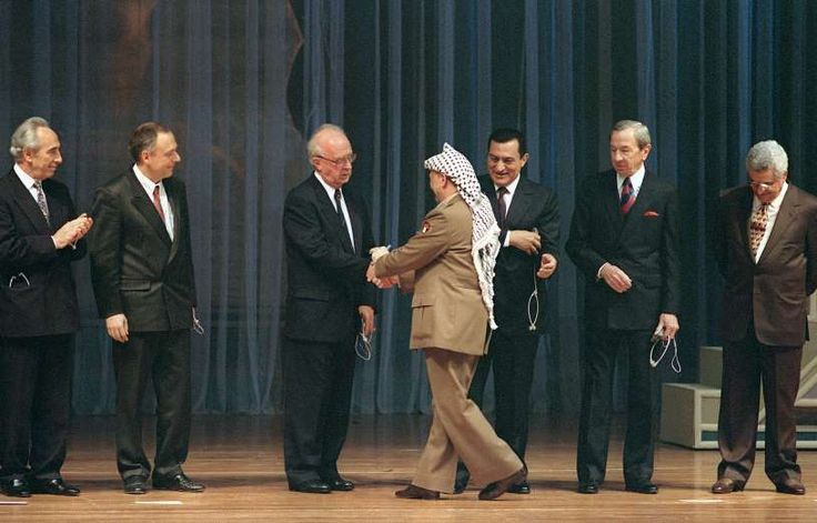 May 4,  1994: PEACE ACCORD FOR PALESTINIAN SELF-RULE  -    Israeli Prime Minister Yitzhak Rabin and PLO leader Yasser Arafat sign an accord on Palestinian autonomy that granted self-rule in the Gaza Strip and Jericho.
