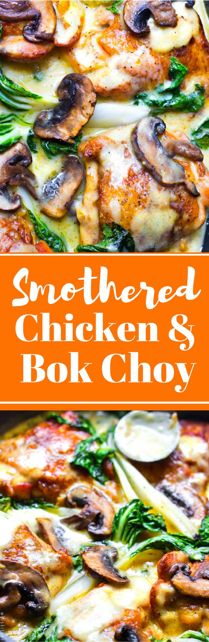 Crispy but tender and never soggy smothered chicken with mushrooms and ...Surprise... baby bok choy!