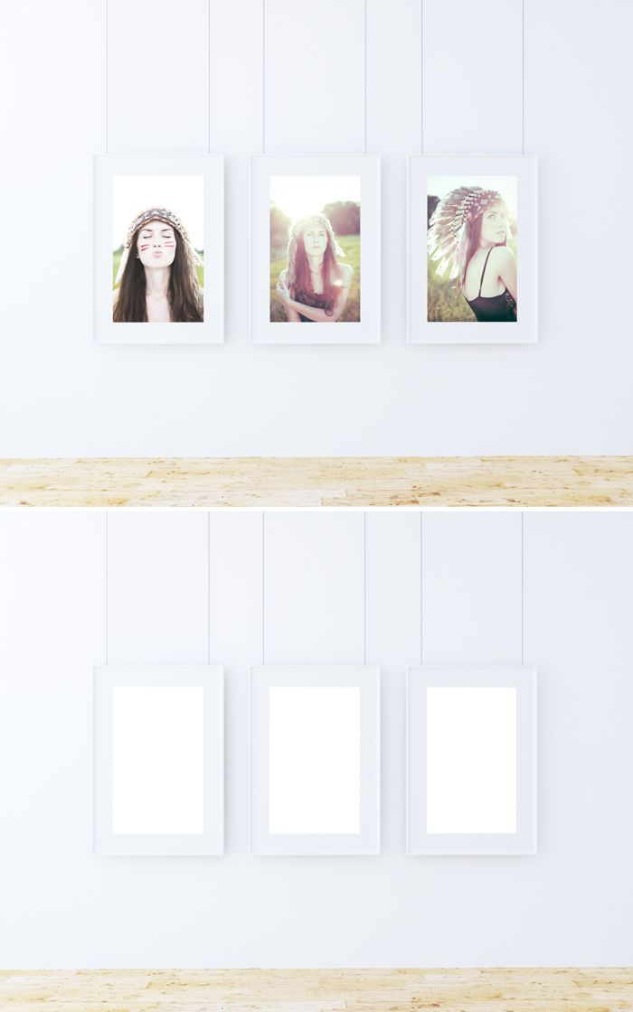 Free Triple Poster Frame Mockup (12.4 MB) | GraphicTwister