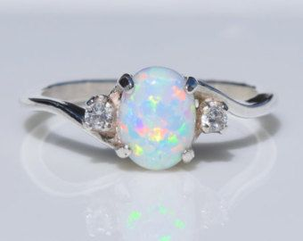 Silver Opal Ring - White Opal Ring, Pink Opal Ring, Blue Opal Ring, Mexican Opal Ring, Multicolored Opal Ring