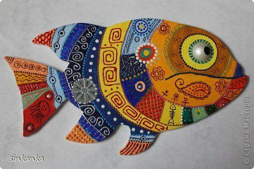 Картина панно рисунок Роспись Рыба для настроения по мотивам Краска Фанера фото 1