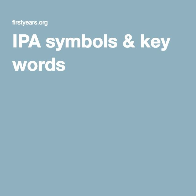IPA symbols & key words