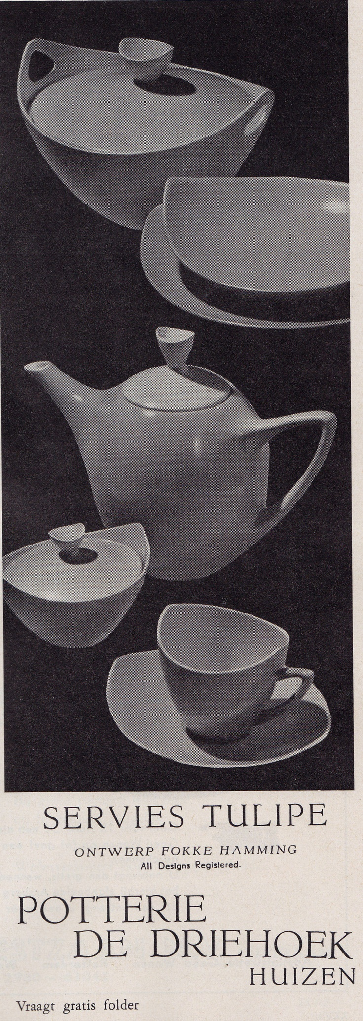 "1959, advertisement for the ""Tulipe"" service, designed by Fokke Hamming for Driehoek Huizen..."