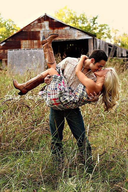 Cute engagement pic pose...minus the barn...cowboy boots...and anything country…