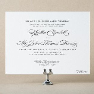 Picture A Clic Formal Wedding With Extraordinary Letterpress Invitations Boasting Sophisticated And Posh Style