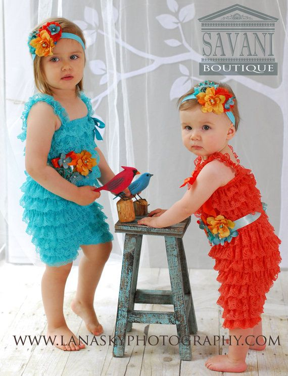 Baby lace romper3 pcs orange or turquoise lace by SAVANIboutique, $39.99