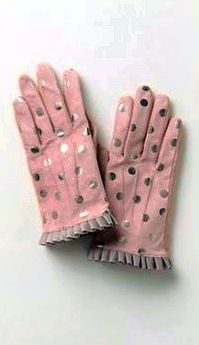 💕Pinky Pleasures Brings You These Gorgeous Blush Coloured Pink And Silver Polka Dot Ladie's Gloves~ Available from: www.handcovered.com