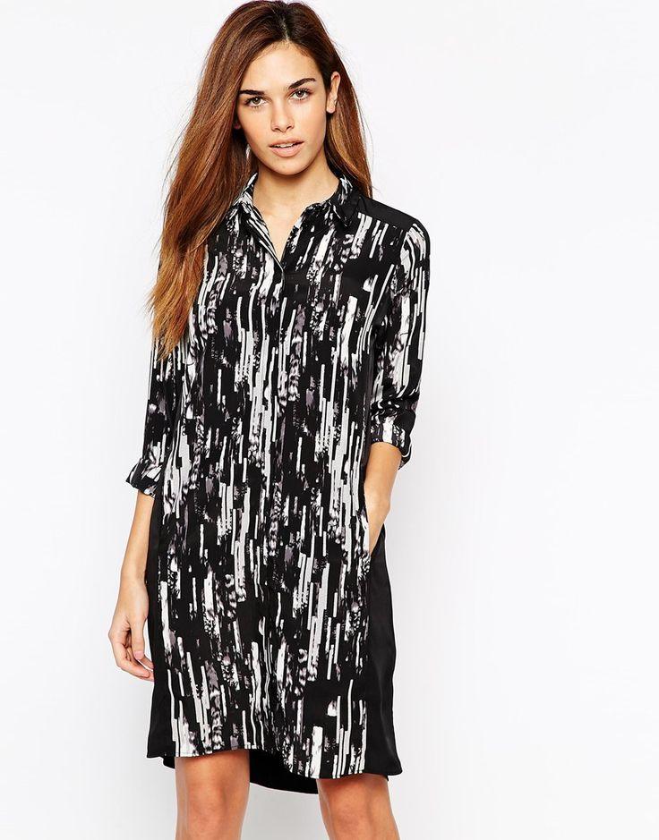 Warehouse Scratchy Printed Shirt Dress