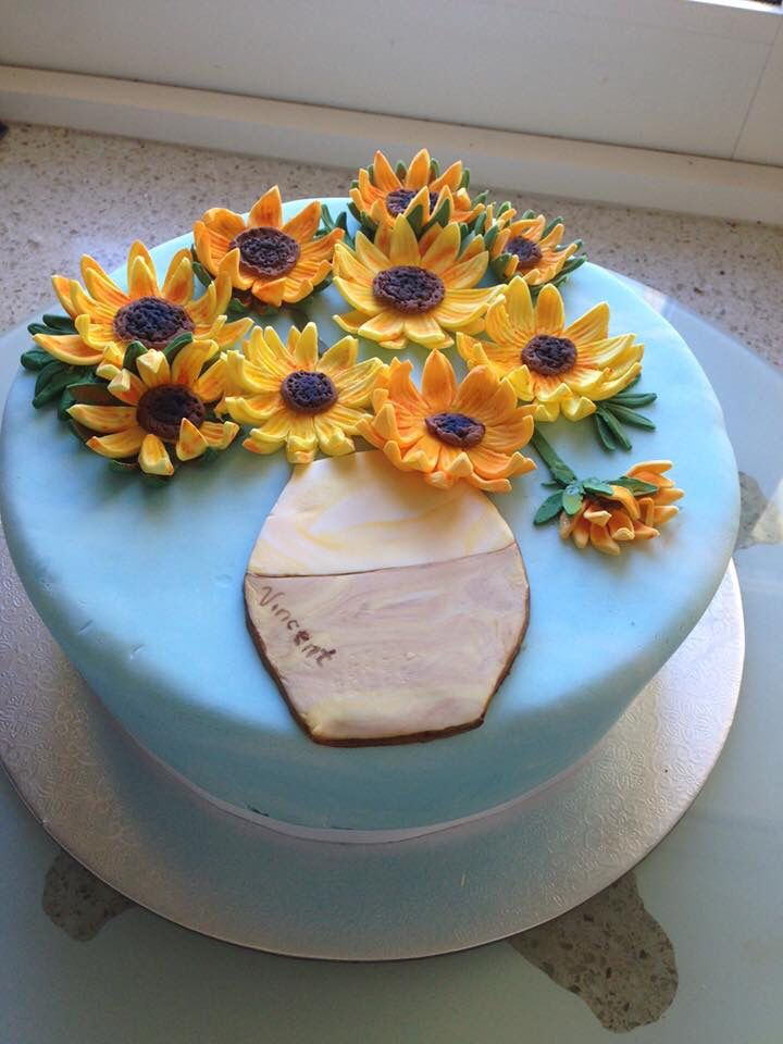 sunflower cake inspired by Vincent Van Gogh. I made the blue to be marbled, but it can't be seen very well in this pic.