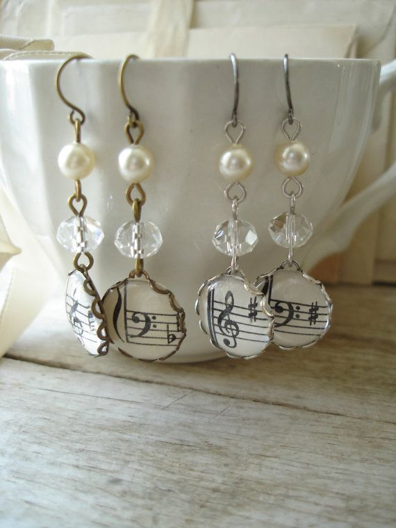 HARMONY - Music Earrings. Vintage Sheet Music Treble & Bass Clef. Antiqued Brass, Glass Crystals and Pearls. Upcycled Sheet Music Jewelry.