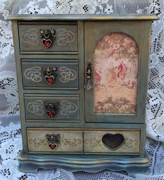 $80. TMainersDesigns. 10-1/2 x 9-1/2 x 4-1/2. Upcycled Jewelry Box. Painted Antique Blue. A.1/7/17. L.11/29/16.