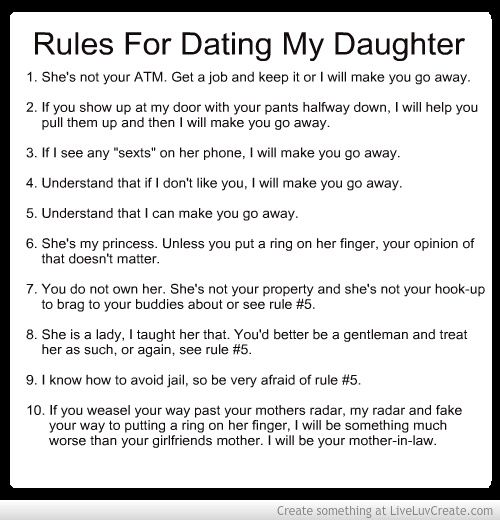 Mothers rules for dating my daughter