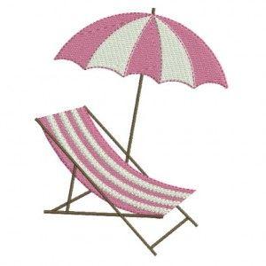 Motif de broderie machine transat et parasol de plage.
