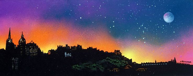 Contemporary mixed media painting of Edinburgh Skyline Dusk, Scotland