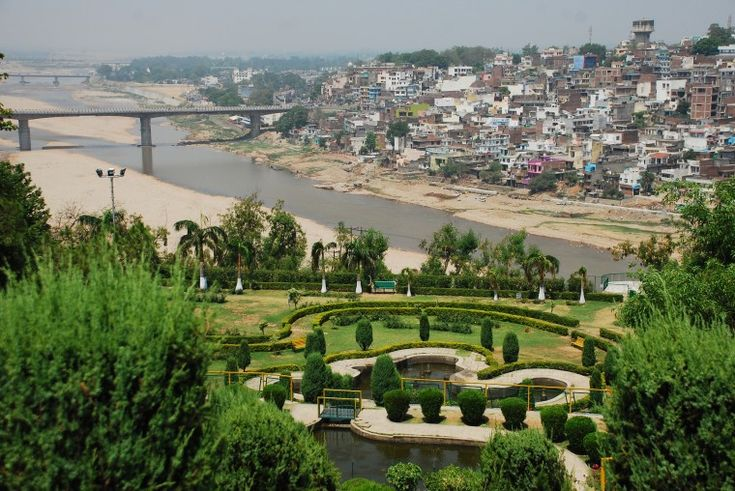 Tawi River and Jammu City seen from Bagh-e-Bahu
