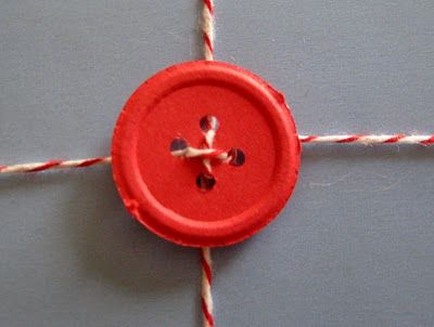 Instead of a bow, wrapping with a button!  I think this would be perfect with wrapping paper that is solid colored and not shiny.  Especially brown packaging paper! I have some huge buttons. white paper, and yarn. Guess I am wrapping tomorrow!