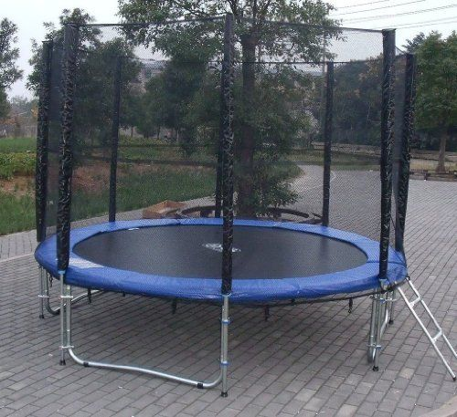 Exacme 12ft Trampoline w/ Safety Pad and Enclosure Net and Ladder All-in-one Set by Exacme. $199.99. Exacme trampolines are made with strong, rust-resistant galvanized steel tubing, which is safer and longer-lasting than conventional welded trampolines.   Galvanized Springs provide a deeper, more exciting bounce. This 12-foot,72-spring trampoline has a 280 pound maximum weight capacity, is easy to assemble and requires no tools or extra drilling, and meet all ASTM, ...