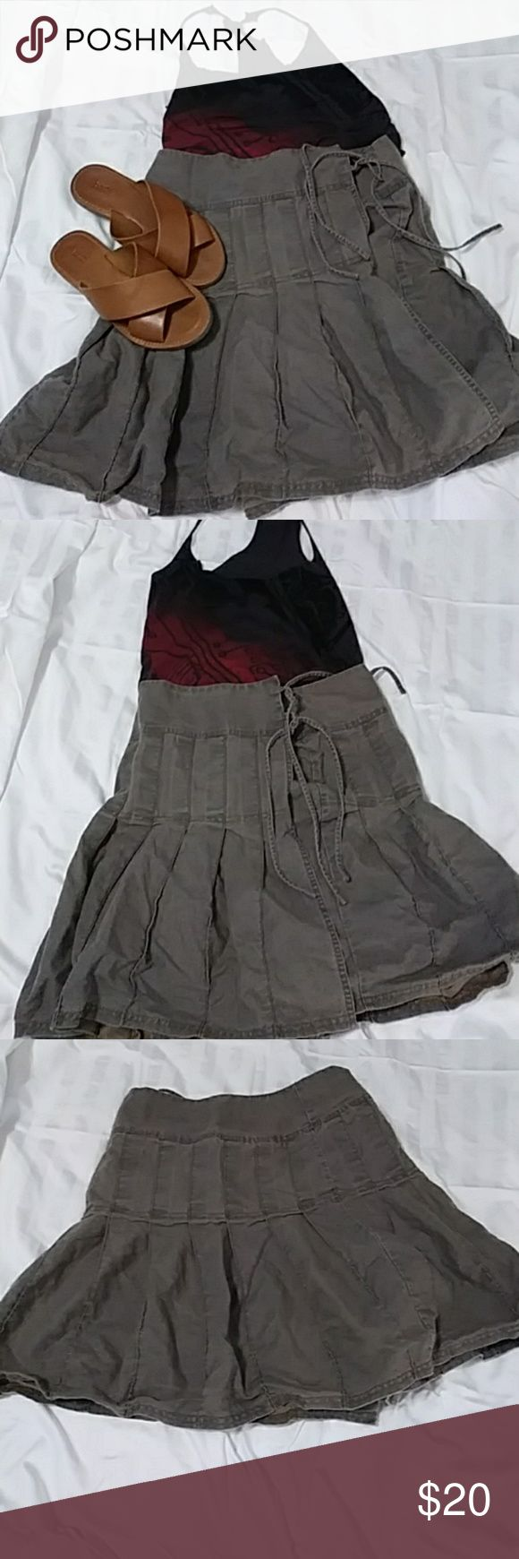 American eagle casual skirt! Very comfy wrap skirt. Buttons on inside and ties on side. Navy green . linen/cotton material American Eagle Outfitters Skirts Circle & Skater