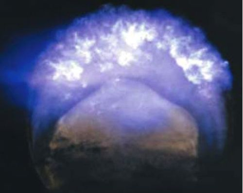Fireball of Operation Dominic-Fishbowl Starfish Prime, 248 miles (399.1 kilometers) above the Pacific Ocean, 9 July 1962.