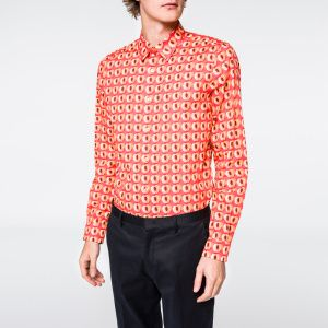Men's Slim-Fit 'Peach' Print Cotton Shirt