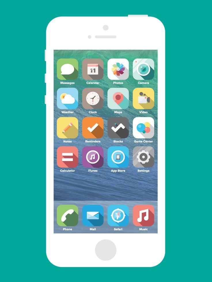 iPhone. Apple. iOS 7. Concept. Color. Inspiration. Flat. Design. Industrial. UI. UX. App. Simple. Minimal. Clean. Homescreen.